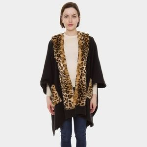 Leopard Fur Trim Cape / Poncho